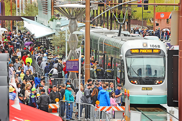Passengers deboard light rail train