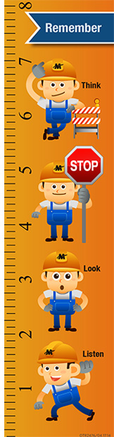 Bookmark image: Remember to think, stop, look and listen.