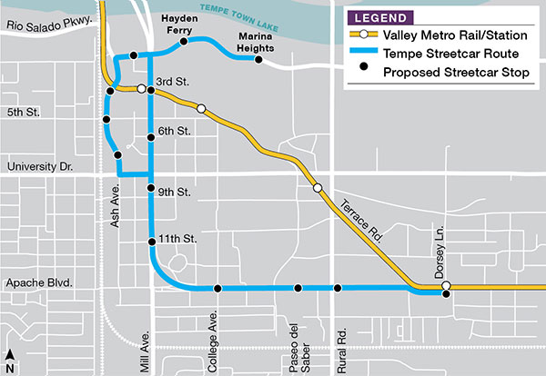 Tempe Streetcar Routes and Stops