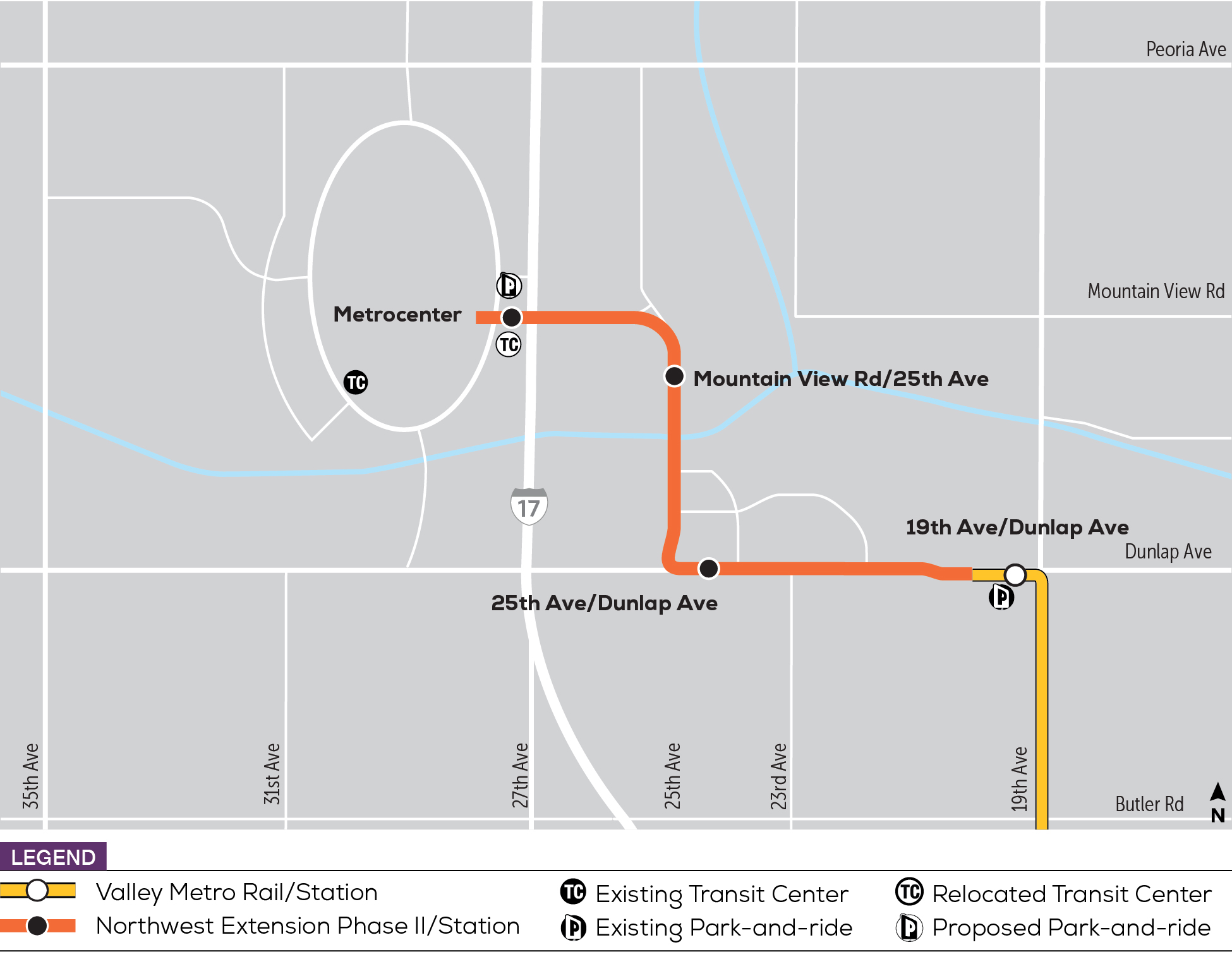 Northwest Light Rail Extension Phase II Hub map. Refer to Route description for details.