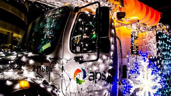 A P S Truck Lit by christmas lights