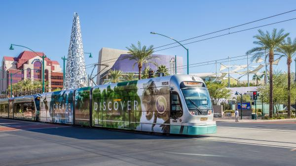Light rail train on Main Street in downtown Mesa