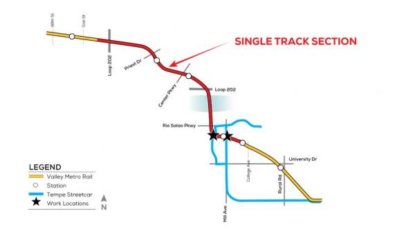 Diagram of where single tracking will occur