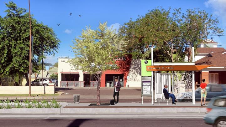 11th Street and Mill Avenue Stop rendering.