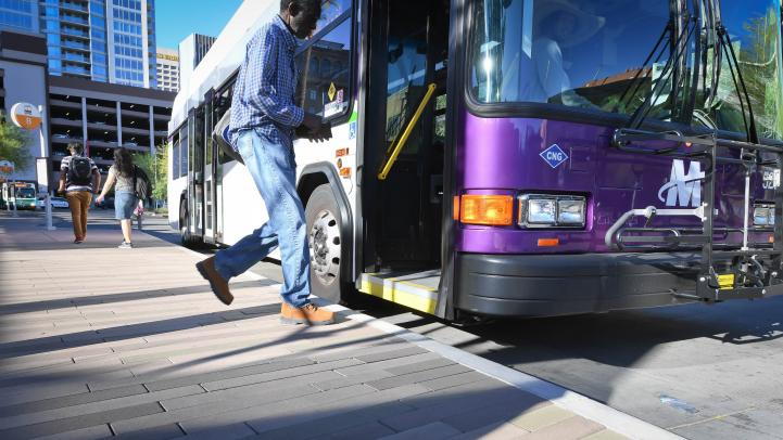 Photo of riding boarding bus