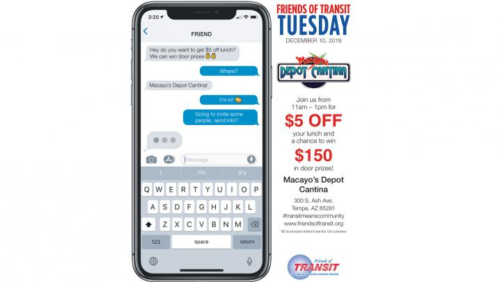 Friends of Transit Tuesday at Macayo's Depot Cantina shows phone text messages in favor of attending. Details below.