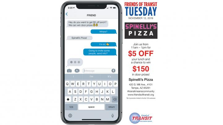 Friends of Transit Tuesday at Spinelli's Pizza shows phone text messages in favor of attending. Details below.