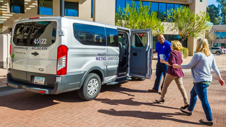 Vanpool riders board a Valley Metro van