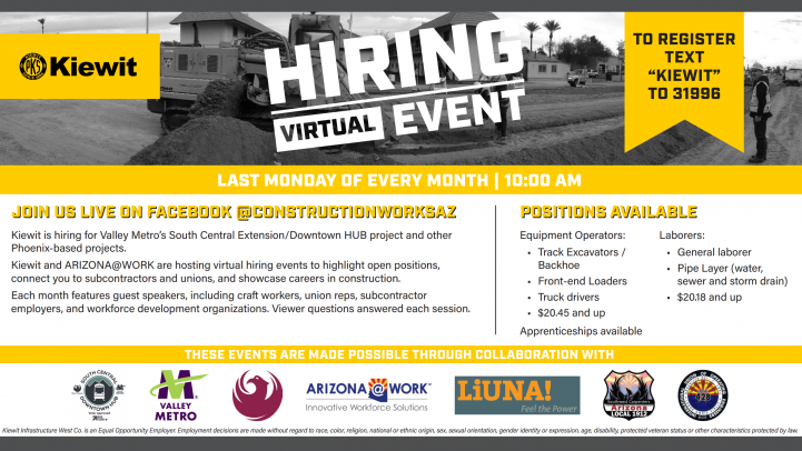 Kiewit Virtual Hiring Event Flier. See below for more details.