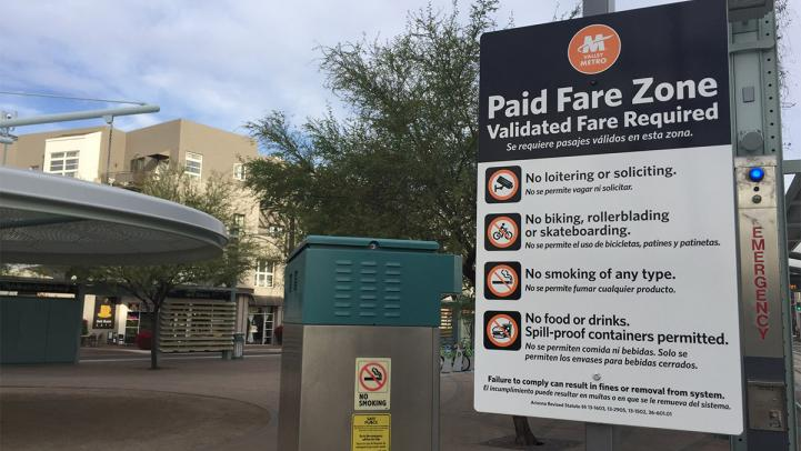 Paid Fare Zone sign