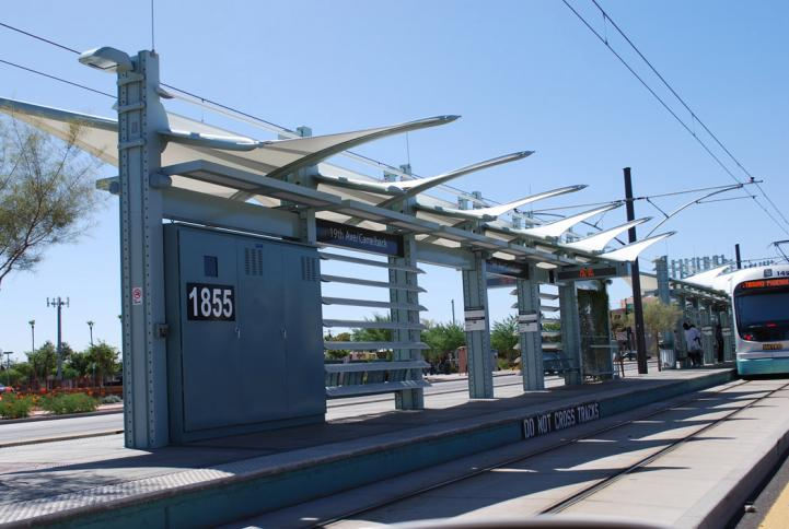 Light rail station at 19th Avenue and Camelback.