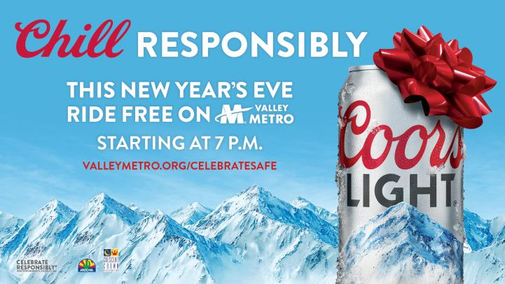 Chill responsibly, this new year's eve ride free on Valley Metro starting at 7 pm