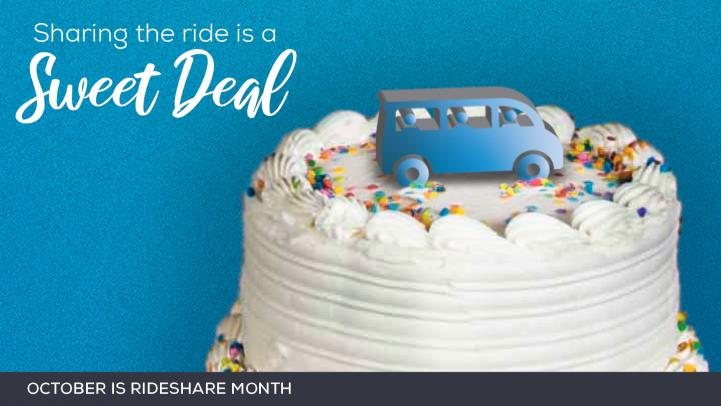 Picture of cake with blue vanpool on top.