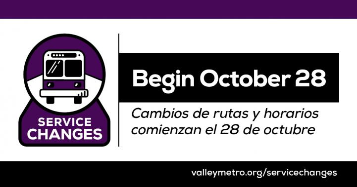 purple and white bus icon with text 'service changes begin October 28' and 'valleymetro.org/servicechanges'.