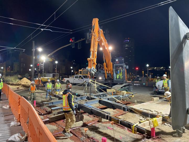 December 22, 2019 special track work being placed across light rail tracks