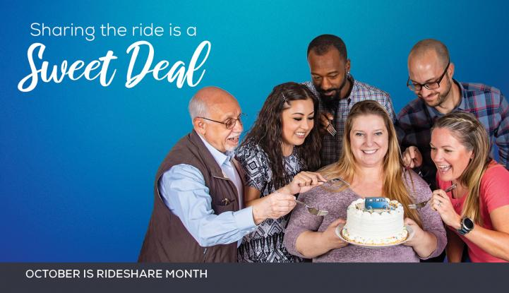 Picture showing 6 people all trying to take a bit of a cake to showcase that sharing the ride is a sweet deal.