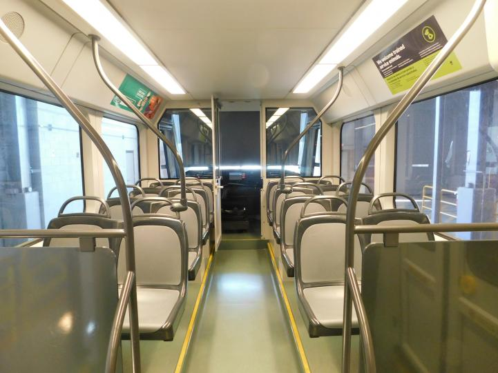 New seats make clean up on light rail trains easier