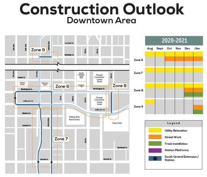 Six month construction outlook map for downtown Phoenix area. See description below for details.