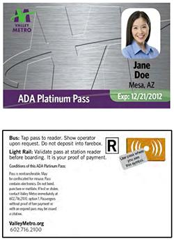 ADA Platinum Pass Card with Jane Doe Rider Photo