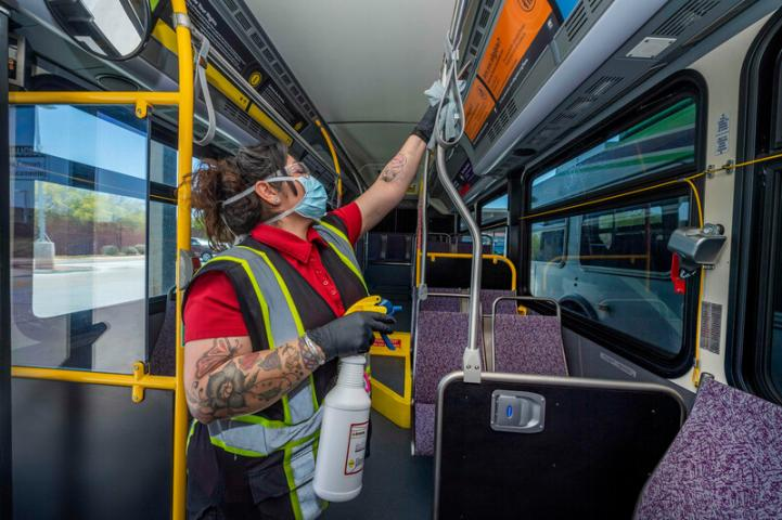 Cleaning inside bus