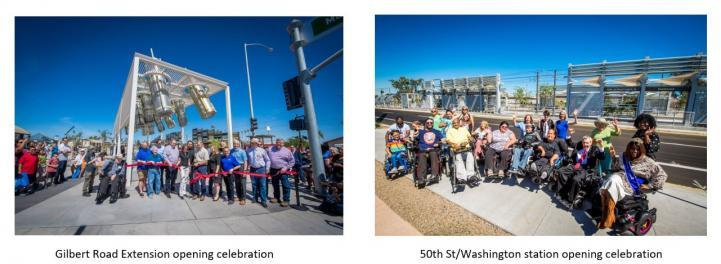 Gilbert Road Extension and 50th St station openings