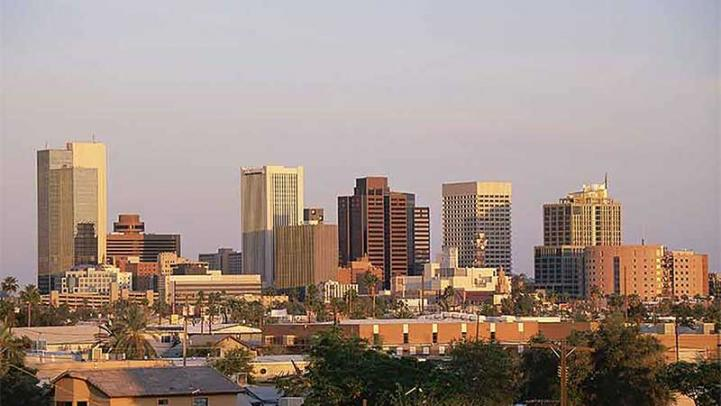 Photo of downtown Phoenix skyline and moderate air pollution