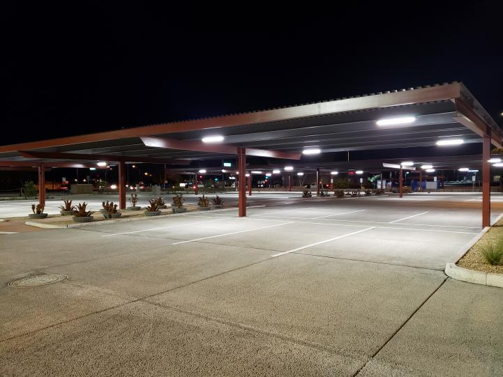 Photo depicting the park and ride at night, with the additional awning lighting.