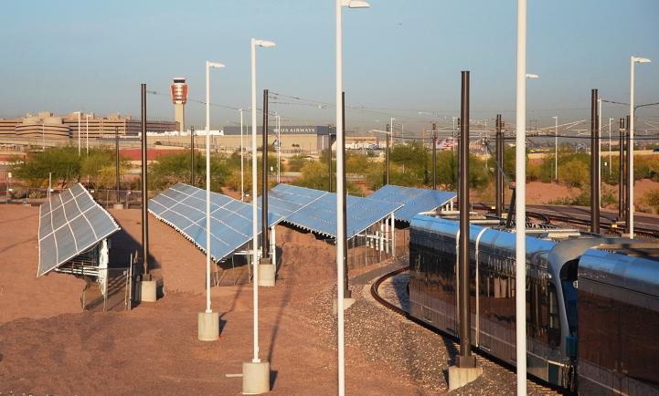 solar panels at the rail yard