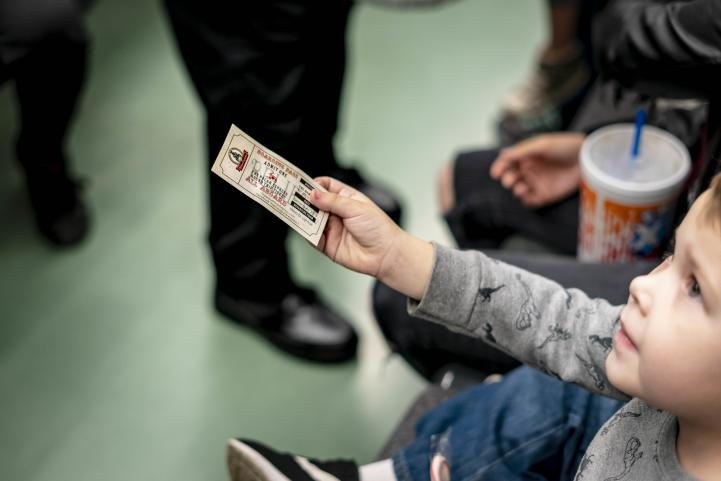 Child with ticket