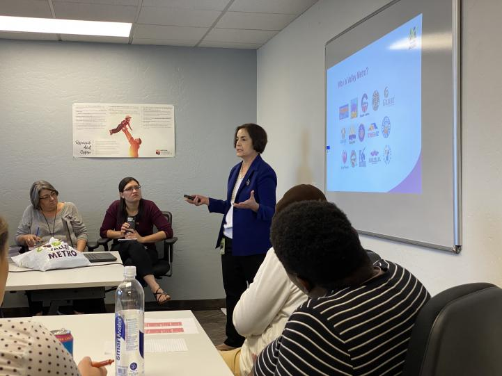 Valley Metro's Dolores Nolan presents the features of Valley Metro to the Arizona Department of Child Safety.