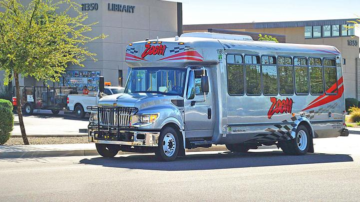 ZOOM bus stopping at library