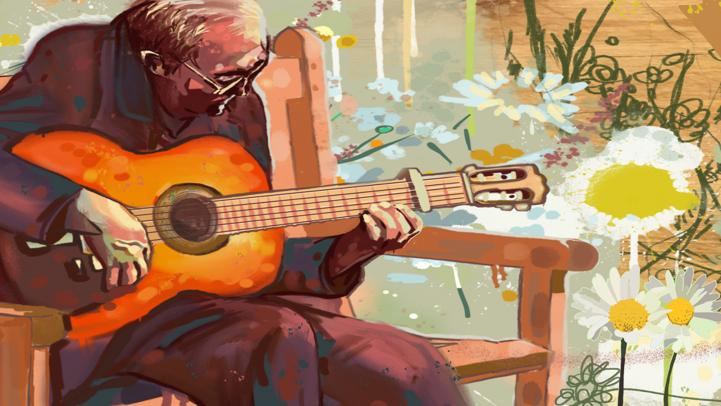 David Osowski's Artwork for Rotating Transit Art Series Man Playing a Guitar