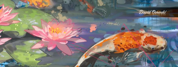 colorful koi fish swimming by flowers
