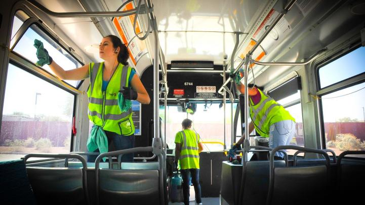 Valley Metro, bus, cleaning