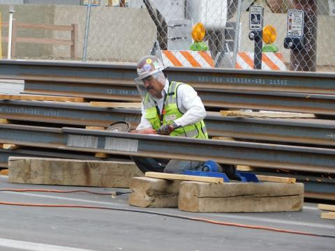 crew welding rail on the Tempe Streetcar project