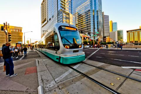 Light Rail train drives thru downtown Phoenix