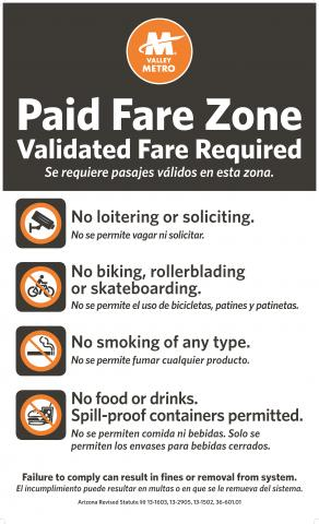 Sign with paid fare zone rules