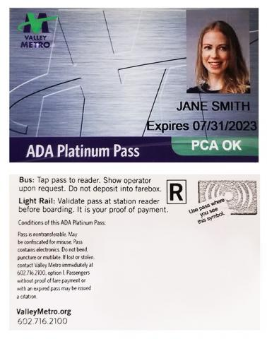 Sample platinum pass - see below for text on pass