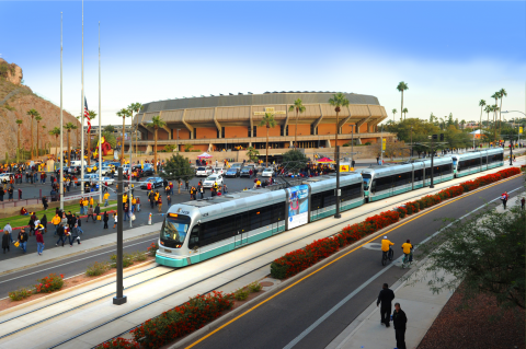 Train in front of ASU Wells Fargo Arena