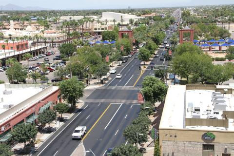 aerial shot of downtown Chandler