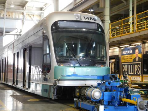 Valley Metro train at the Operations Maintenance Center