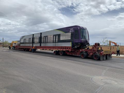 Delivery of light rail vehicle to the Valley Metro Operations and Maintenance Center