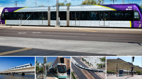 Photo montage of light rail seen from various angles