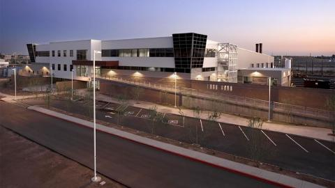 Exterior of Rail Operations and Maintenance Center.