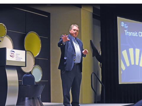 Valley Metro CEO Scott Smith shown presenting at a national conference