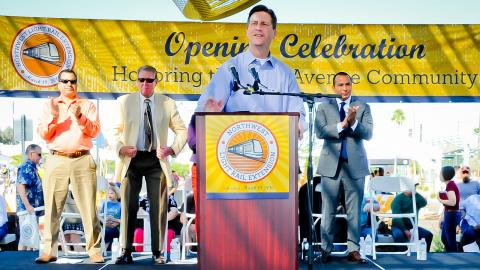 Phoenix Mayor Greg Stanton speaks at Northwest Phase 1 Extension opening