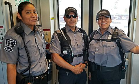 three fare inspectors on the train