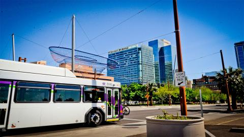 Valley Metro bus drives in downtown Phoenix