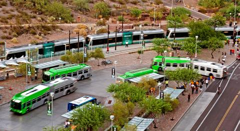 Valley Metro bus and rail at busy depot