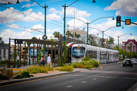 Valley Metro light rail trains at a platform in Mesa